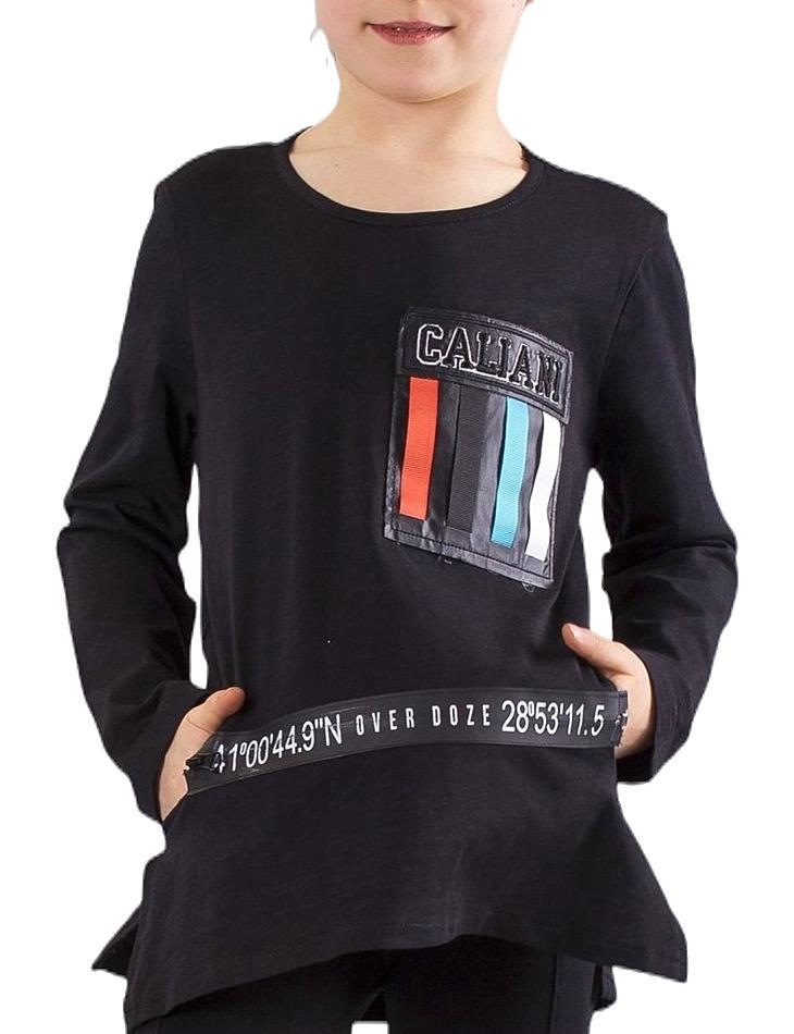 čierne dlhé dievčenské tričko vel. 128