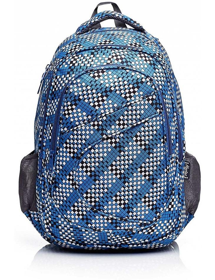 Modrý školský batoh s geometrickým vzorom vel. univerzální