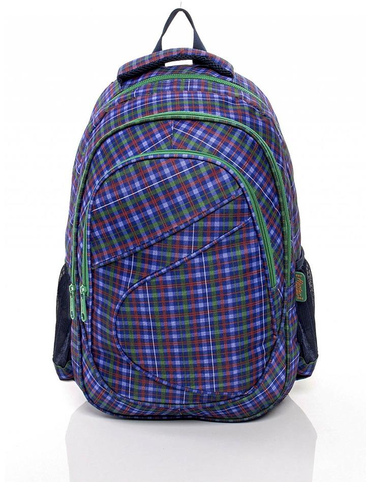 Modrý školský batoh s kockovaným vzorom vel. univerzální