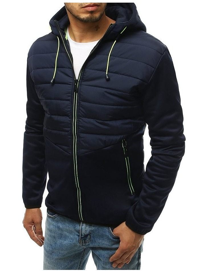Tmavo modrá prešívaná pánska bunda vel. M