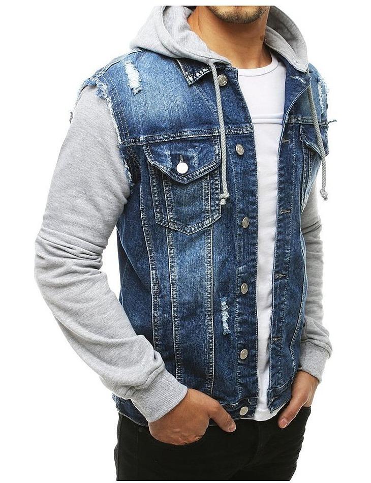 Modro- šedá pánska džínsová bunda vel. 2XL