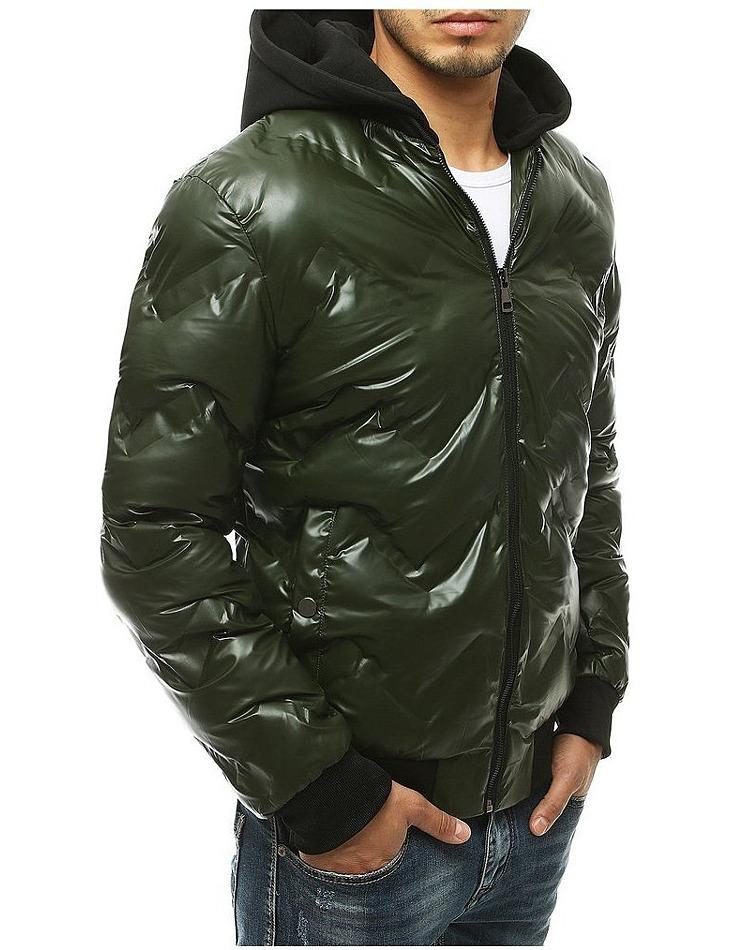 Zelená pánska lesklá zimná bunda vel. XL