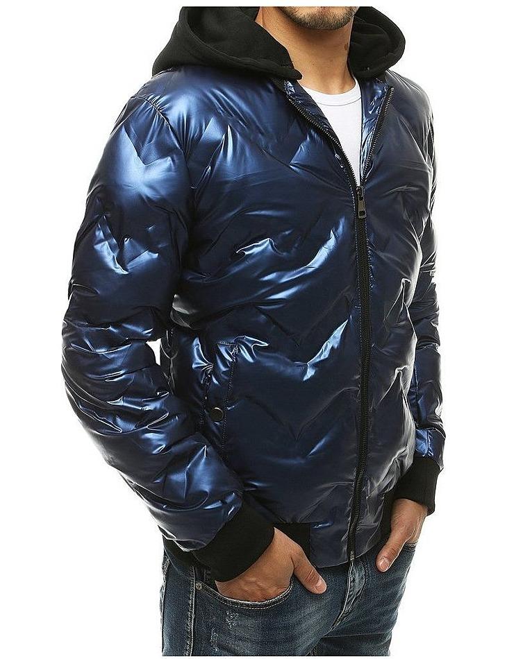 Modrá pánska lesklá zimná bunda vel. M
