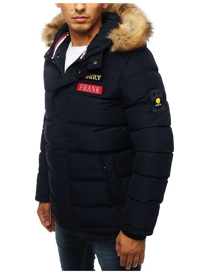 Pánska zimná prešívaná bunda s kapucňou - modrá vel. M