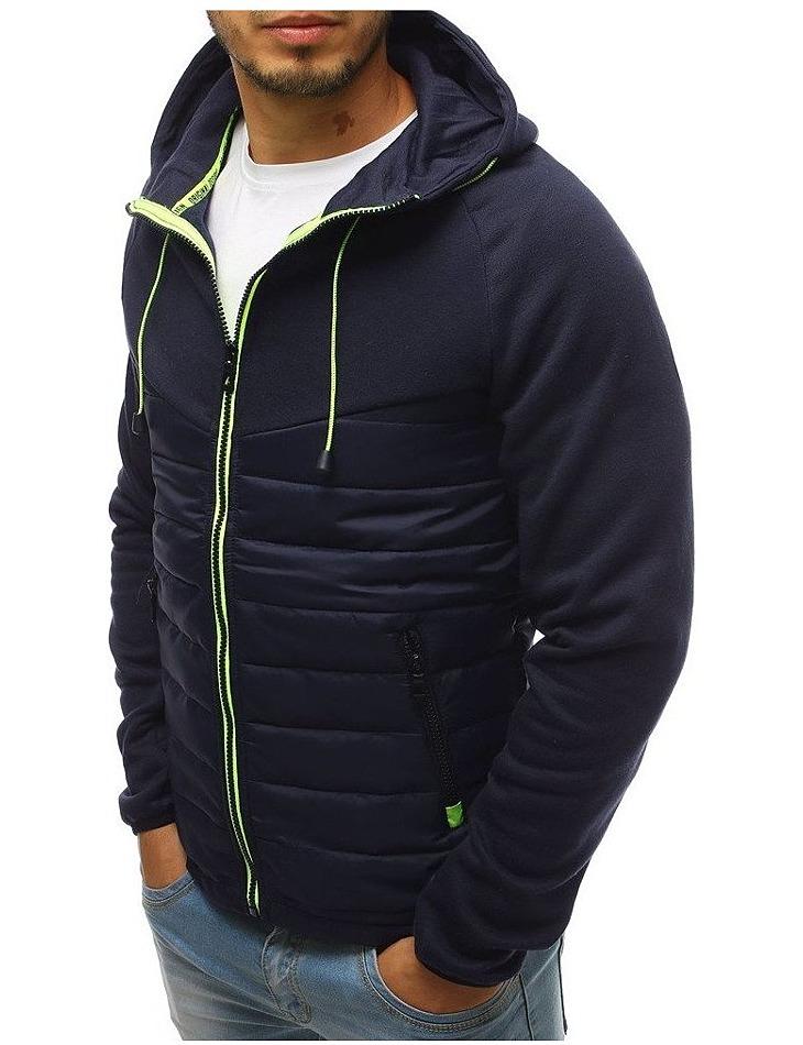Tmavo modrá pánska bunda so zeleným zipsom vel. M