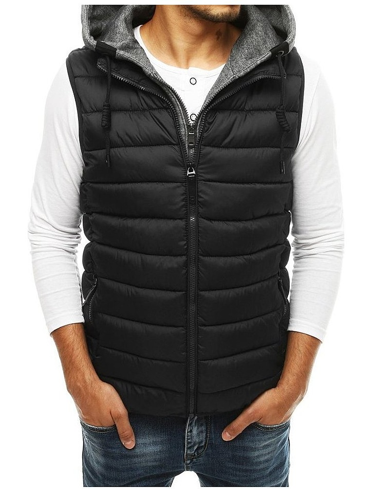 Pánska čierna prešívaná vesta s kapucňou vel. 2XL