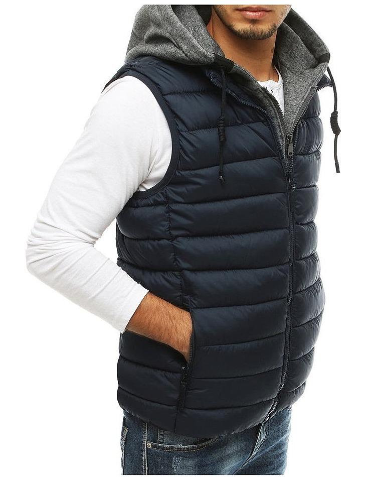 Pánska čierna prešívaná vesta s kapucňou vel. M