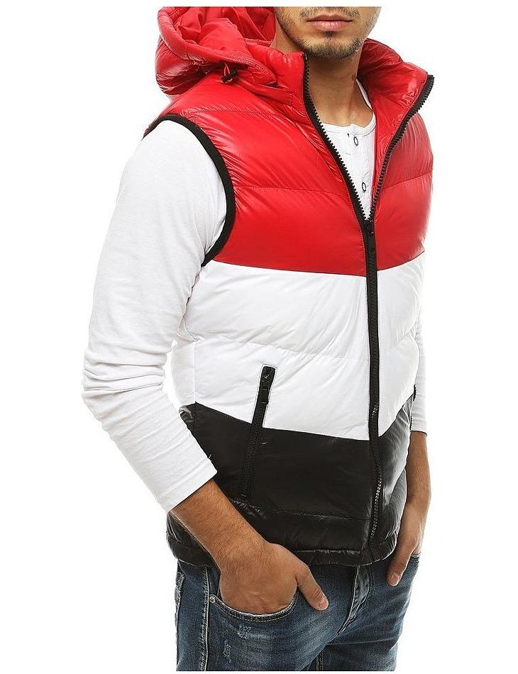 červená prešívaná vesta s kapucňou vel. XL