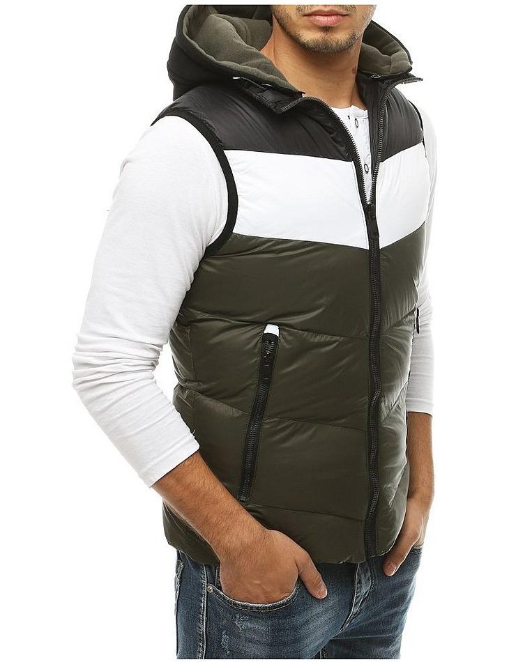 Zeleno-čierna vesta s kapucňou vel. XL