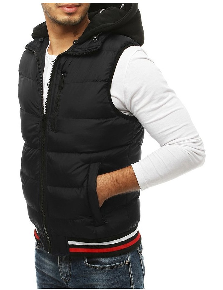 Pánska čierna prešívaná vesta s kapucňou vel. XL