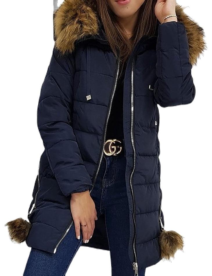 Zimná prešívaná bunda stella - tmavo modrá vel. XL