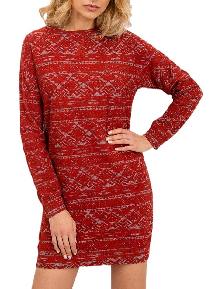 Tmavo-červené dámske šaty vzorované vel. XS
