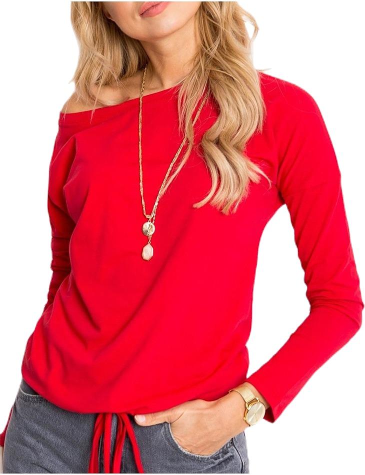 Dámske červené tričko na zaviazanie v páse vel. L