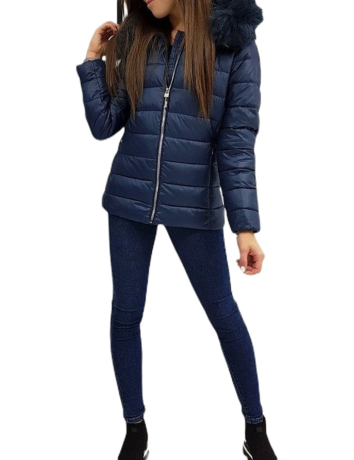 Zimná prešívaná bunda estella - tmavo modrá vel. M