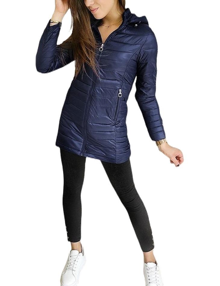 Tmavo modrá dámska prešívaná bunda vel. XL