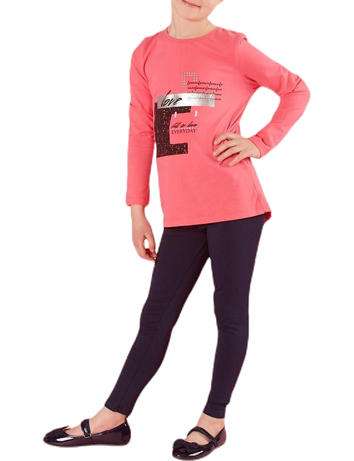 Ružové dievčenské tričko s potlačou love vel. 116