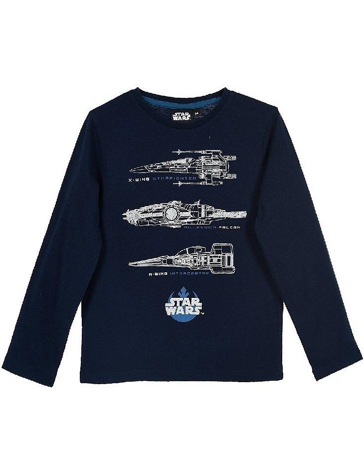 Star wars tmavo modré chlapčenské tričko s dlhým rukávom vel. 116