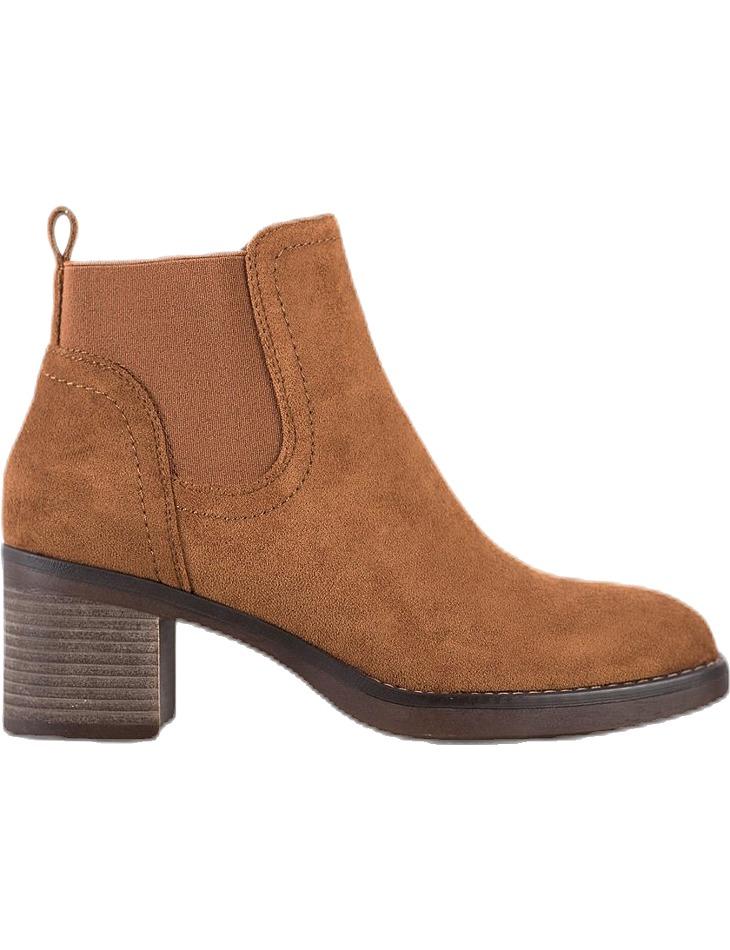 Hnedé semišové členkové topánky na podpätku vel. 39