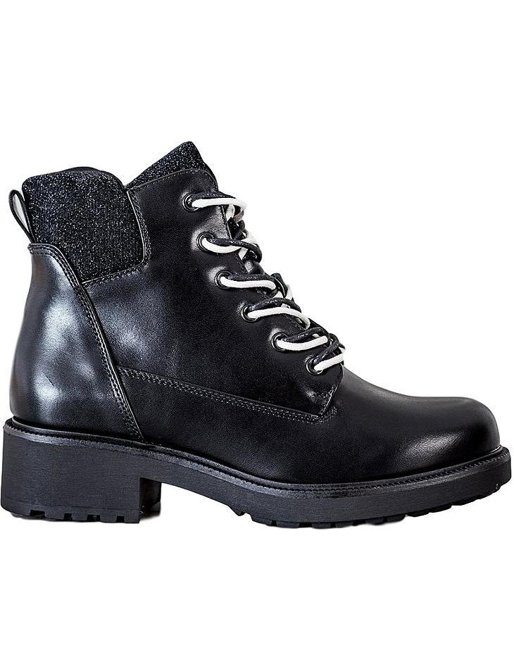 Dámske čierne členkové šnurovacie topánky vel. 37