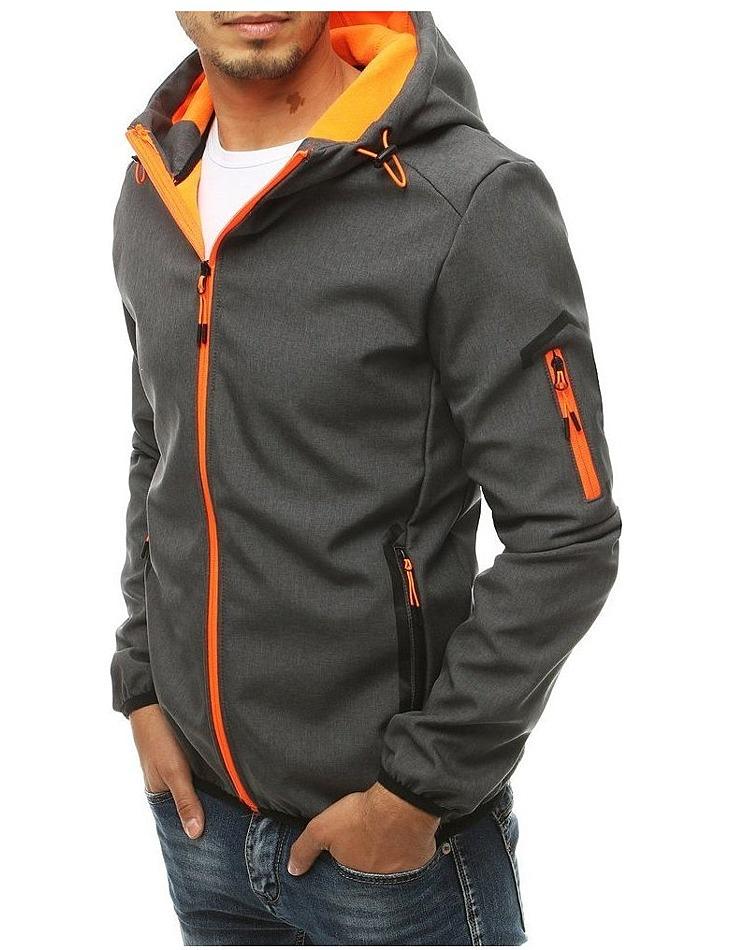 Pánska šedá softshellová bunda s kapucňou vel. 2XL