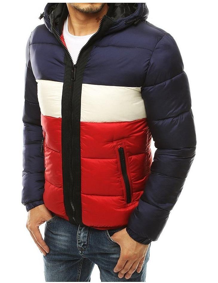 Modro-červená prešívaná bunda vel. L