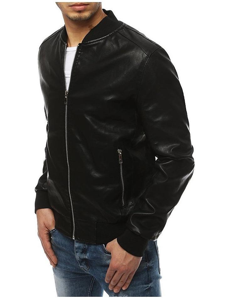 Pánska čierna bunda koženého vzhĺadu vel. M