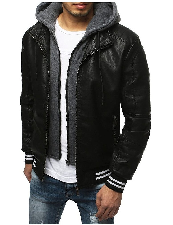 Pánska čierna koženková bunda vel. M