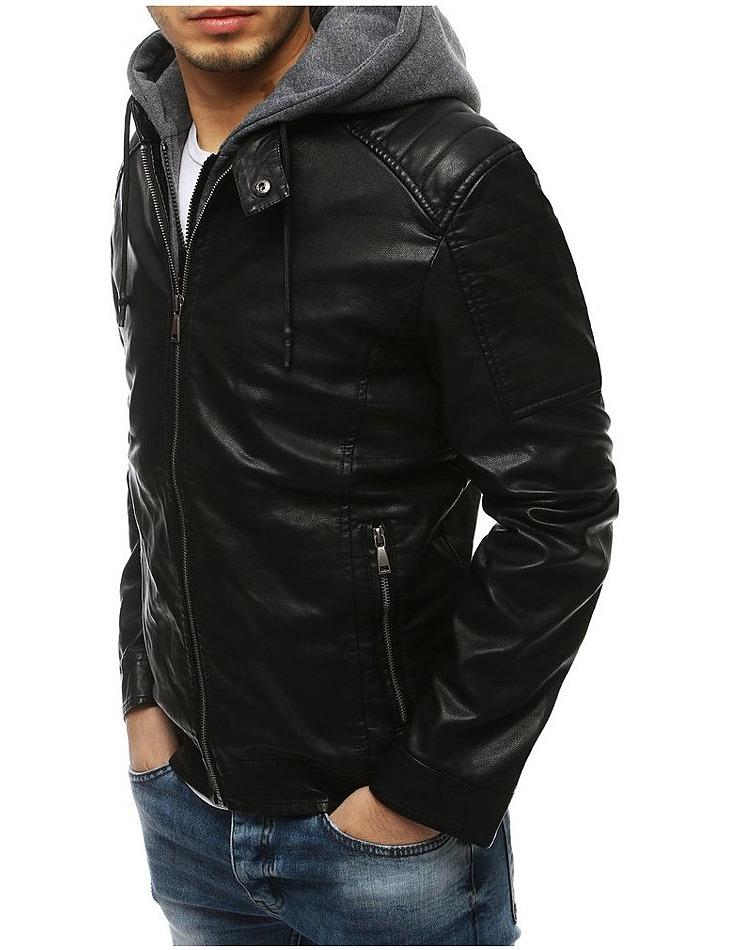 Pánska čierna koženková bunda vel. XL