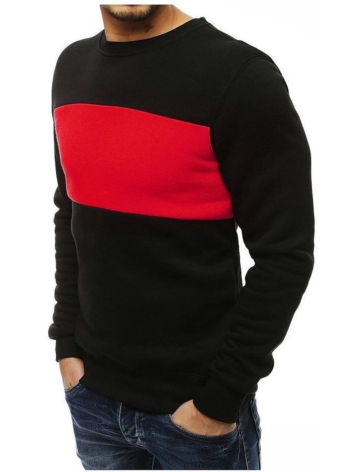 Pánska čierna mikina s červeným prúžkom vel. 2XL