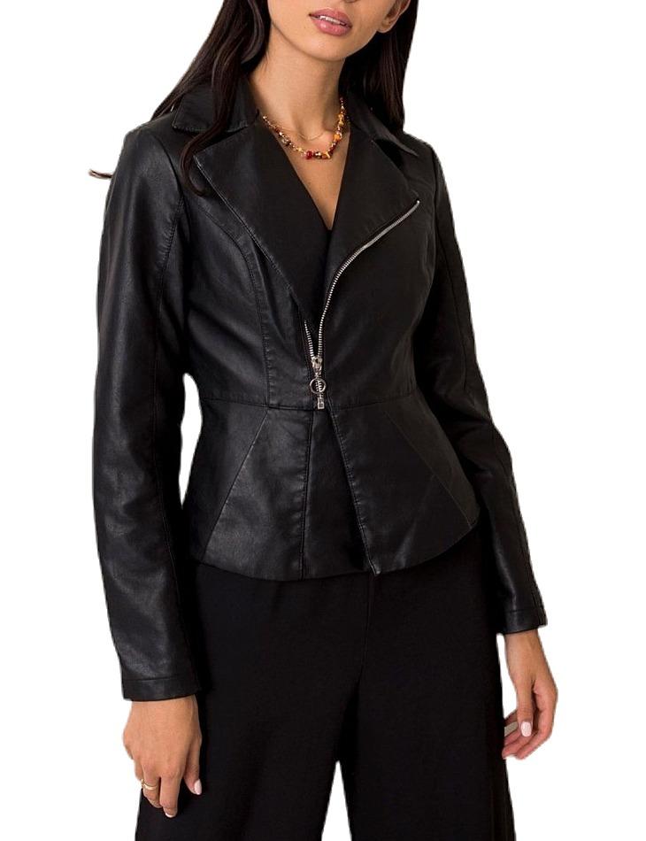 Dámska čierna koženková bunda vel. L