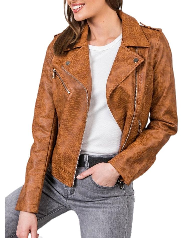 Dámska hnedá koženková bunda vel. XL