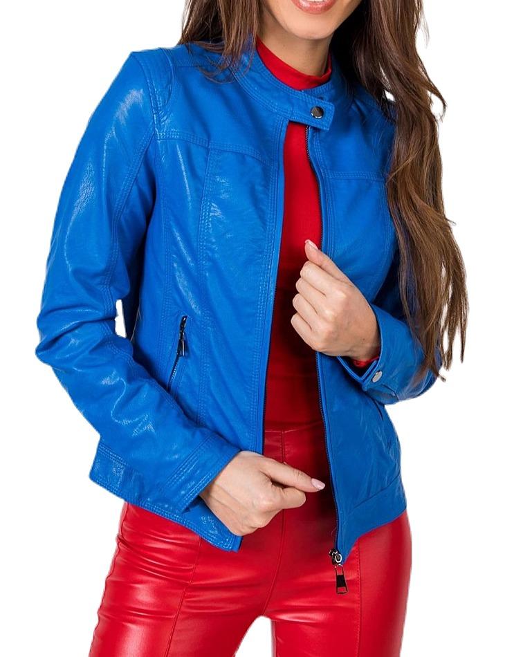 Dámska modrá koženková bunda vel. XL