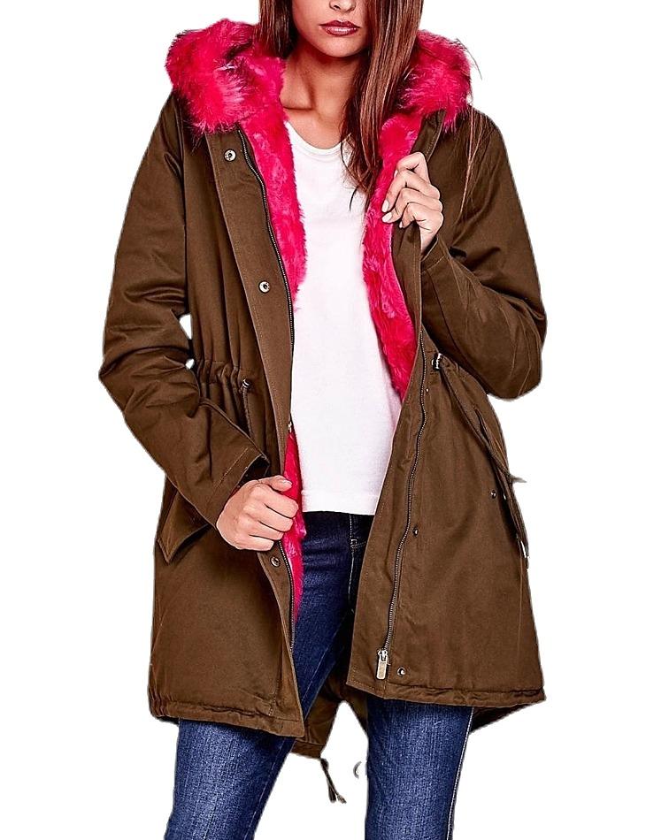Dámska hnedá bunda s ružovou kožušinou vel. XL