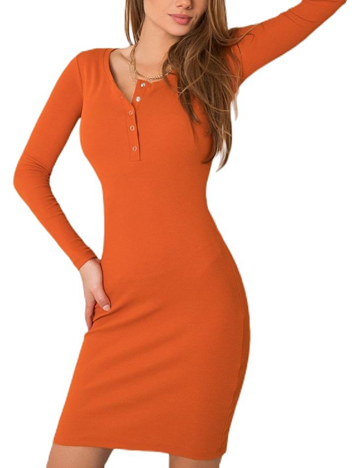 Oranžové šaty s dlhým rukávom vel. S