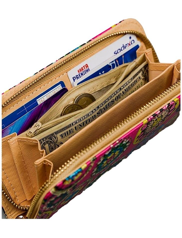 Ružová dámska peňaženka s farebnými ornamentami vel. univerzální