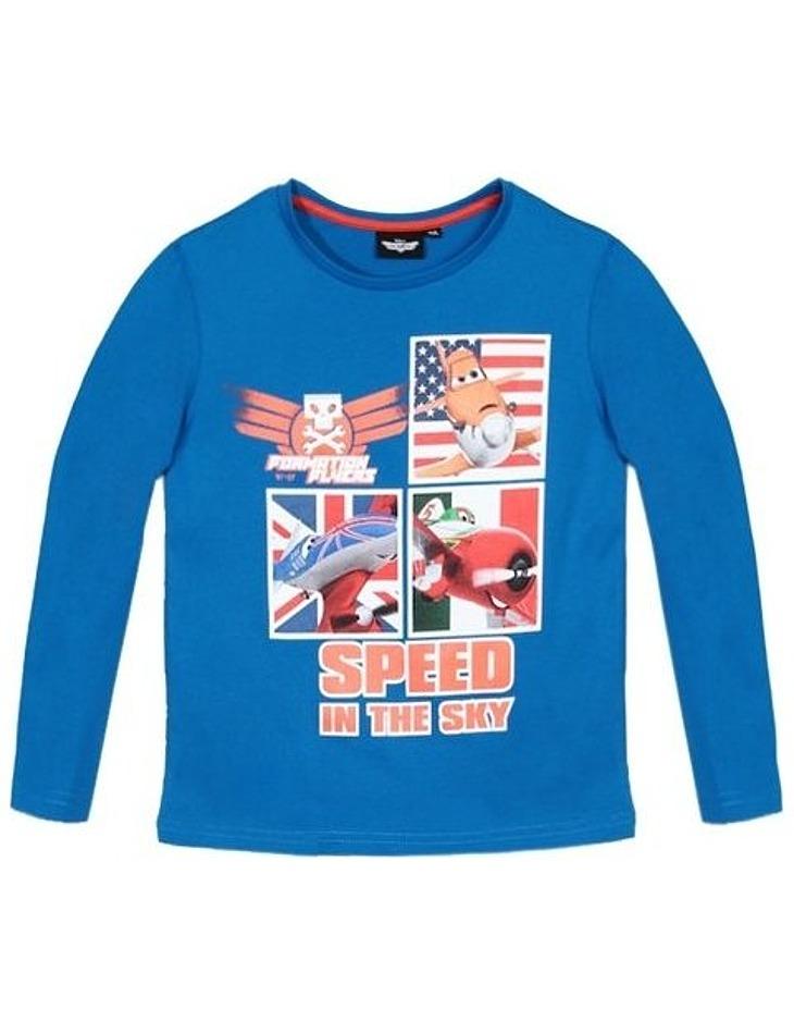 Disney planes - dusty modré tričko s dlhým rukávom pre chlapcov vel. 128