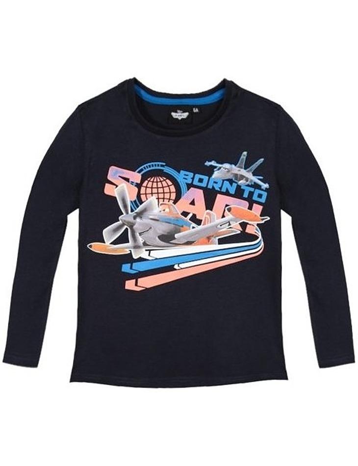 Disney planes - dusty čierne tričko s dlhým rukávom pre chlapcov vel. 104