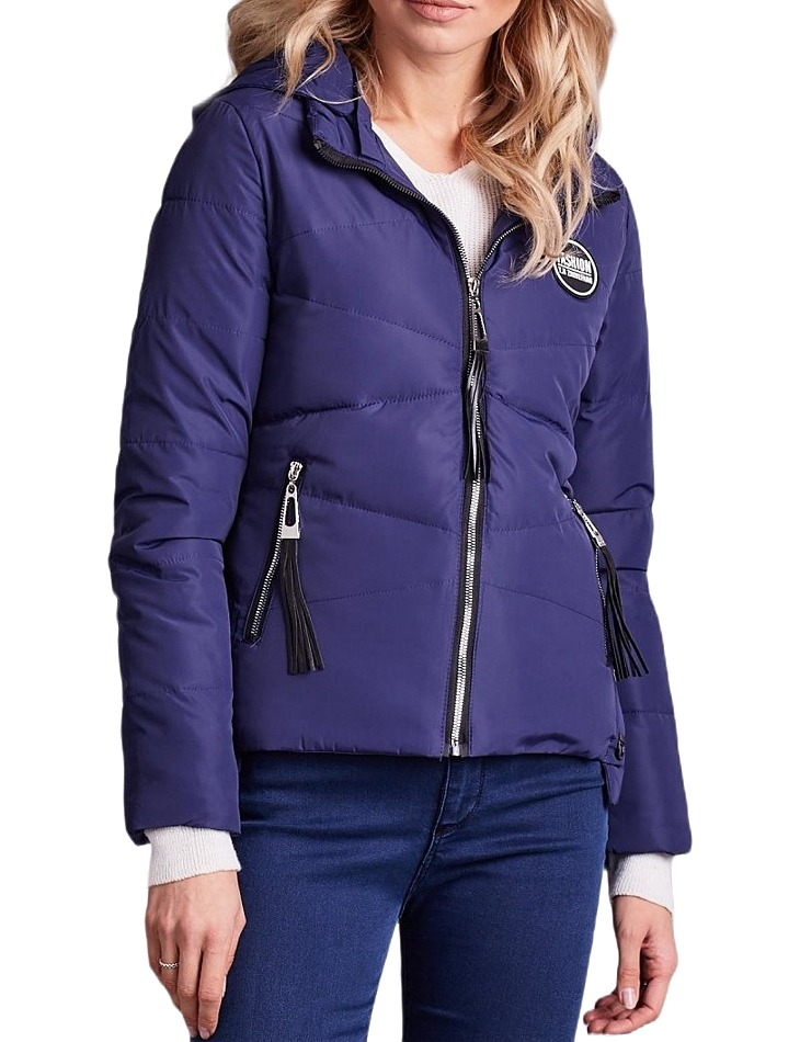 Dámska modrá zimná bunda s kapucňou vel. M