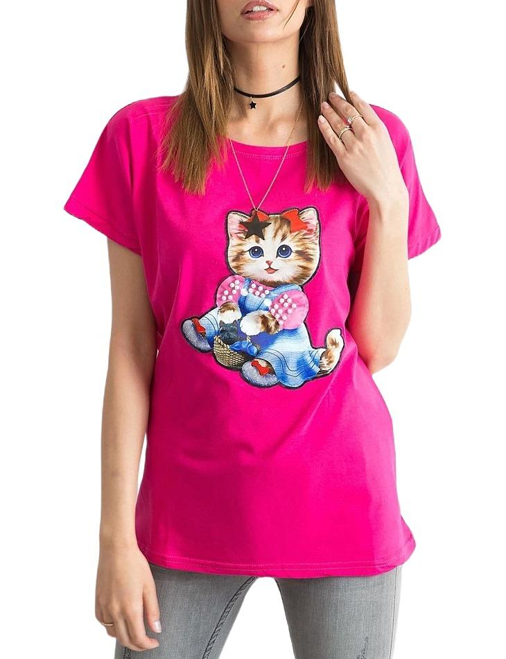 Dámske ružové tričko s mačkou vel. M