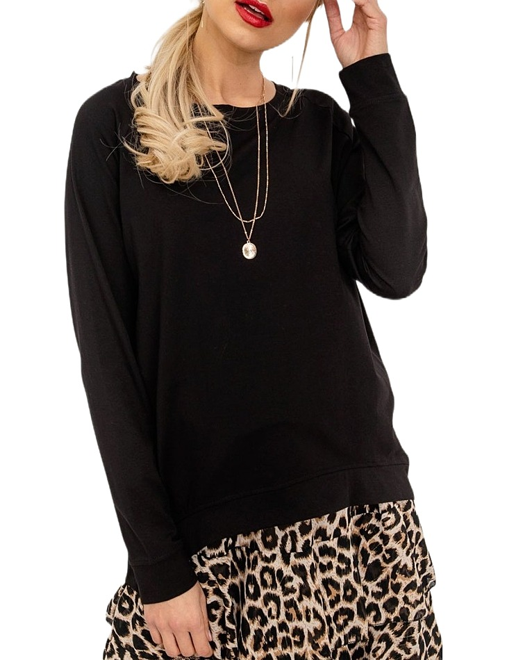 Dámske čierne tričko s dlhým rukávom vel. M