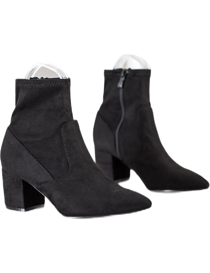 čierne semišové členkové topánky na podpätku vel. 37