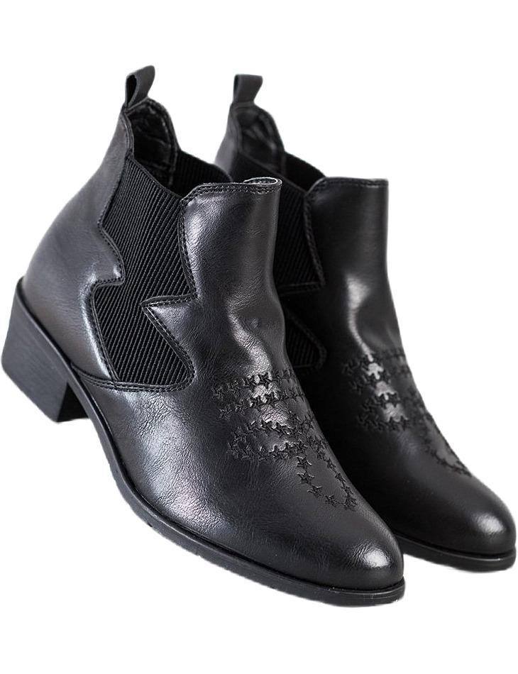 čierne dámske členkové topánky na podpätku vel. 36
