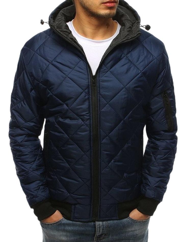 Tmavo modrá prešívaná bunda s kapucňou vel. M