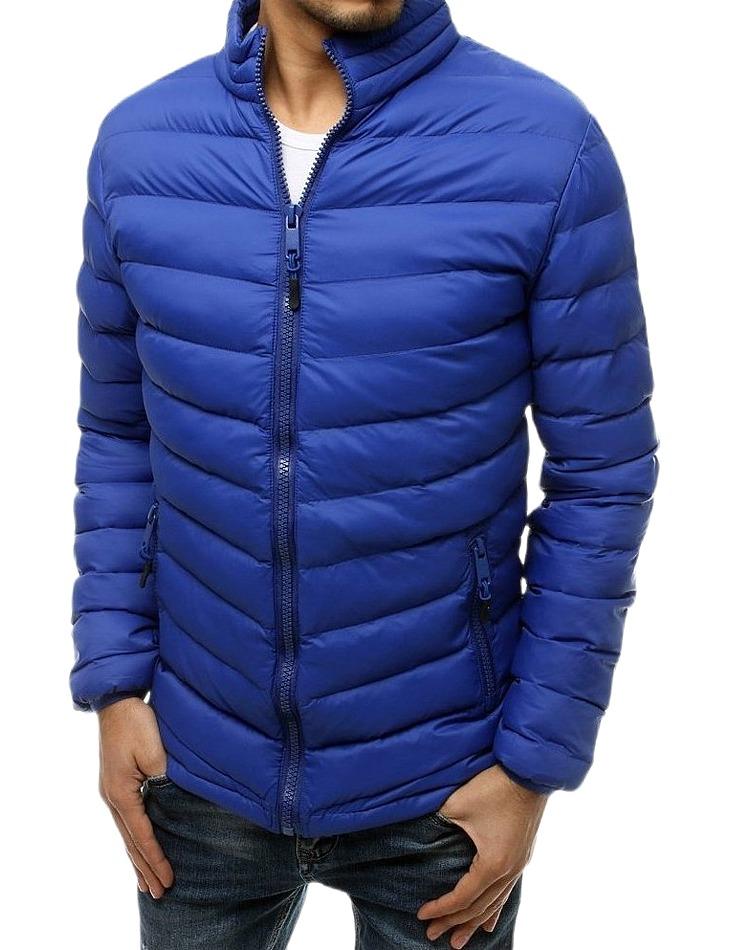 Pánska stredne modrá ĺahká prešívaná bunda vel. M