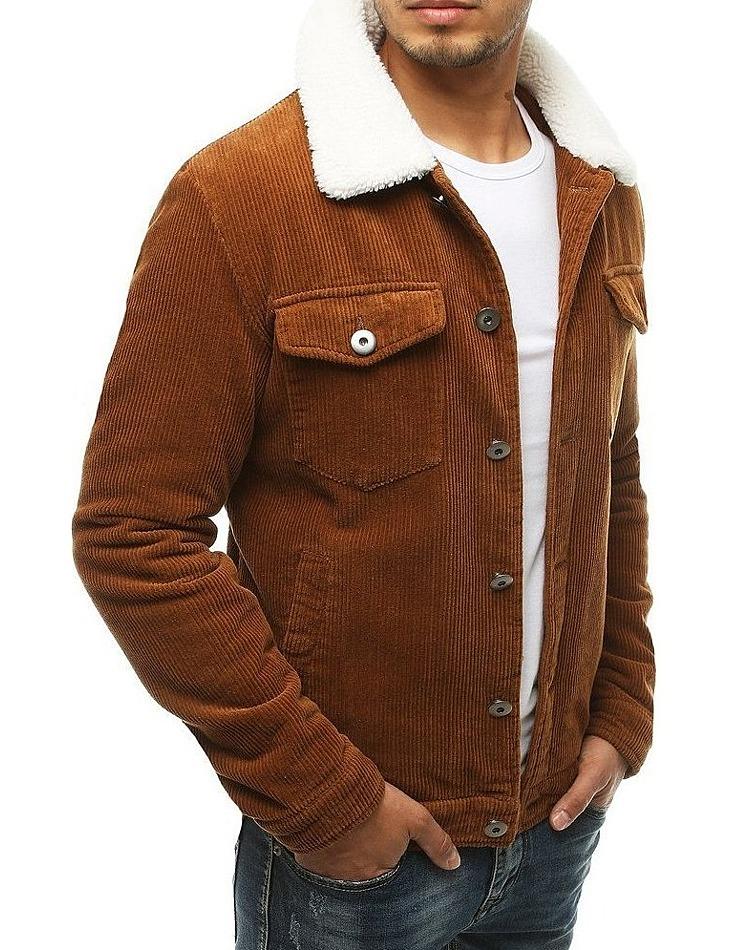 Hnedá pánska menčestrová bunda s kožušinkou vel. S