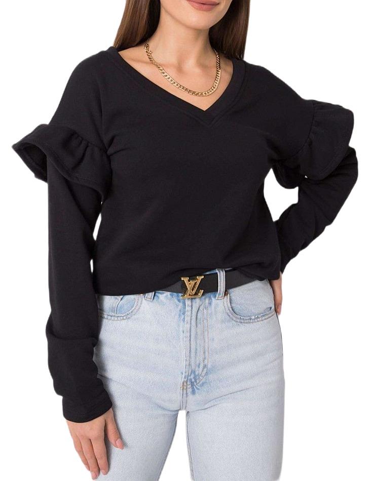 čierna dámska mikina s volánikmi na rukávoch vel. L/XL