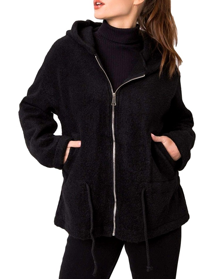 čierna dámska bunda s kapucňou vel. univerzální