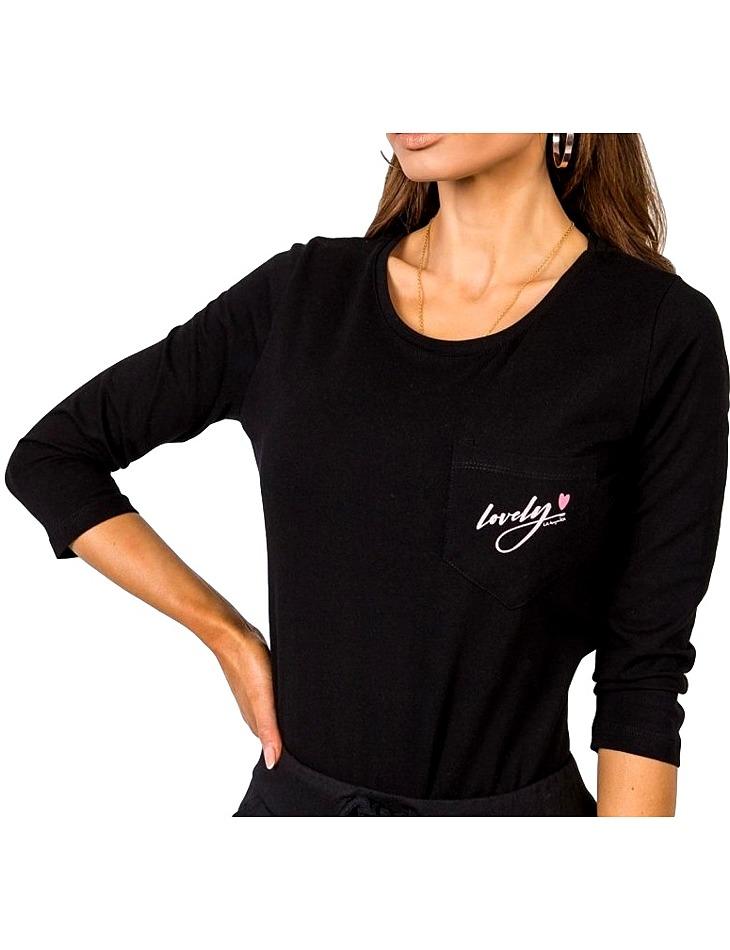 """Dámske čierne tričko """"lovely"""" vel. M/L"""
