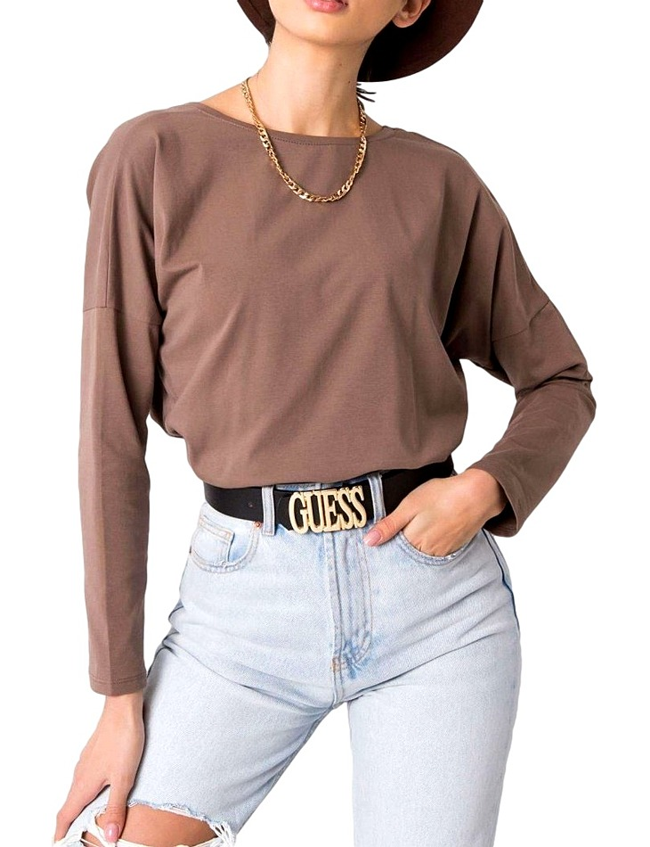Hnedé dámske tričko s dlhým rukávom vel. S/M