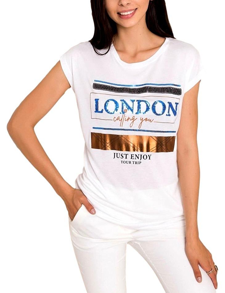 Biele dámske tričko s potlačou vel. M